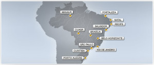Host cities of the Brazil 2014 World Cup-This map is from www.FIFA.com.